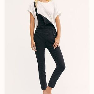 Free People black denim overall
